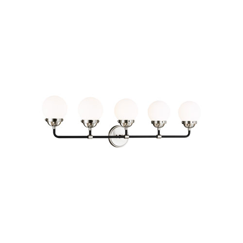 Cafe Brushed Nickel Five-Light Bath Vanity with LED Bulbs