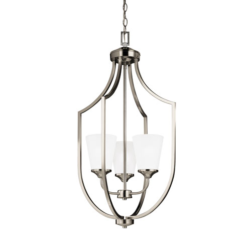 Sea Gull Lighting Hanford Brushed Nickel Energy Star 18-Inch Three-Light LED Pendant with Satin Etched Glass