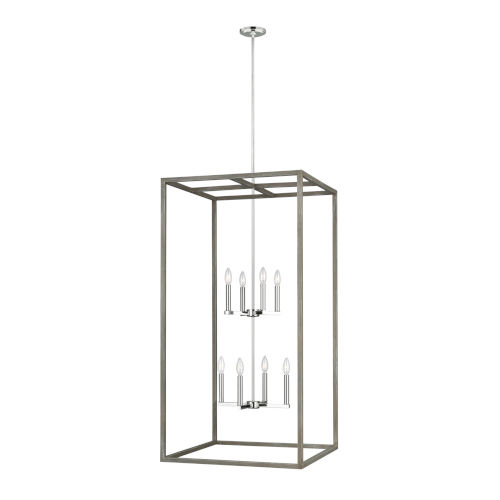 Moffet Street Washed Pine Eight-Light Pendant