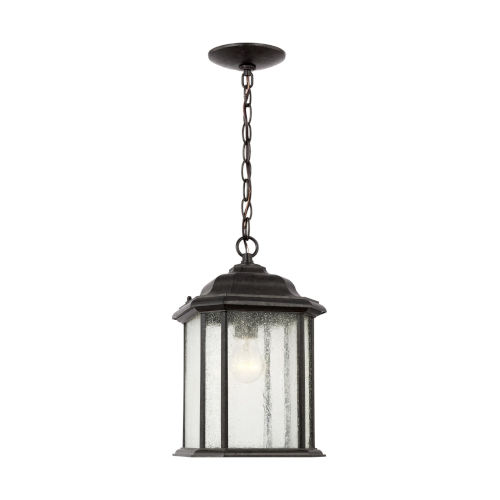 Kent Oxford Bronze One-Light Outdoor Pendant with Clear Seeded Shade