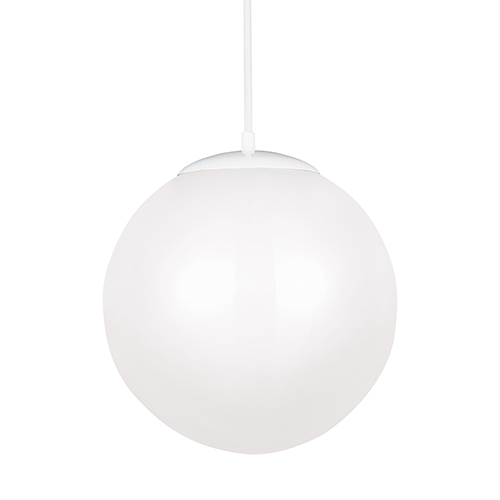 Sea Gull Lighting Hanging Globe White 14-Inch LED Pendant