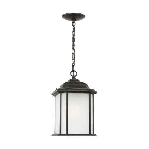 Kent Oxford Bronze One-Light Outdoor Pendant with Satin Etched Shade