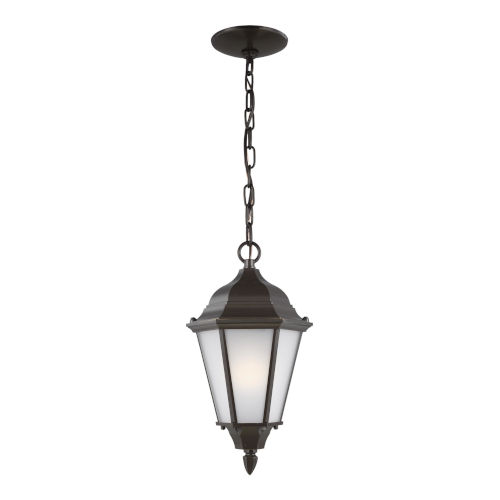 Bakersville Heirloom Bronze One-Light Outdoor Pendant with Satin Etched Shade