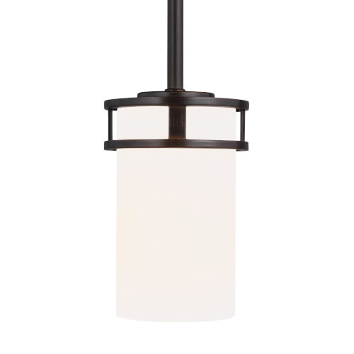 Robie Burnt Sienna One-Light Mini Pendant with Etched White Inside Shade
