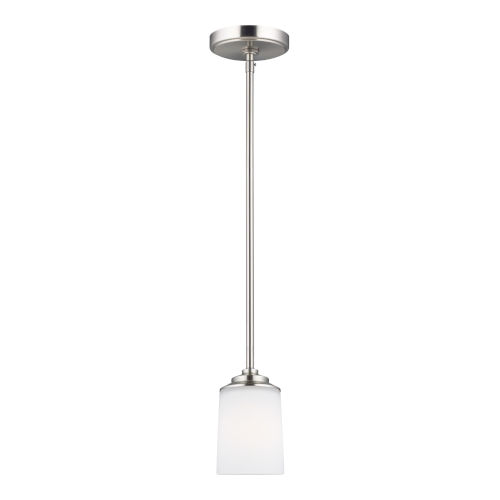 Kemal Brushed Nickel One-Light Mini Pendant with Etched White Inside Shade