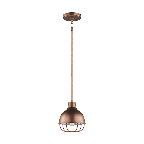 Jeyne Weathered Copper Eight-Inch One-Light Mini Pendant