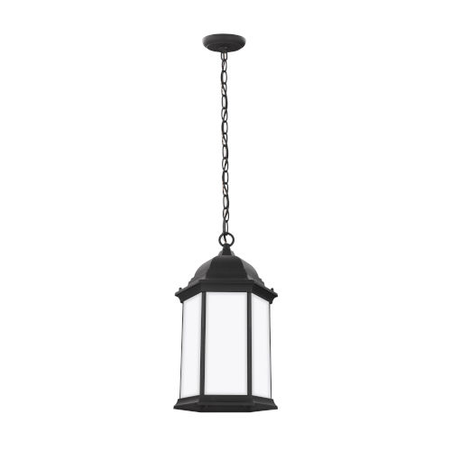 Sevier Black One-Light Outdoor Pendant with Satin Etched Shade