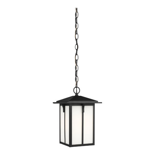 Tomek Black One-Light Outdoor Pendant with Etched White Shade
