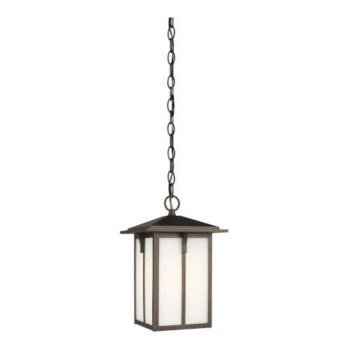 Tomek Antique Bronze One-Light Outdoor Pendant with Etched White Shade