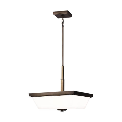 Ellis Harper Brushed Oil Rubbed Bronze Three-Light Pendant with Etched White Inside Shade