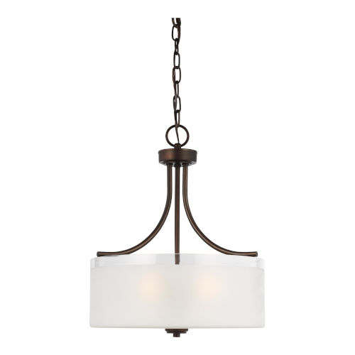 Norwood Burnt Sienna Three-Light Pendant with Clear Highlighted Satin Etched Shade