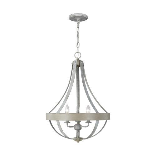 Davlin French Washed Oak Three-Light Pendant