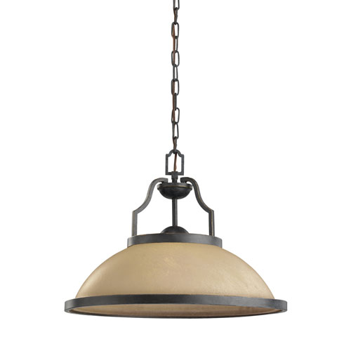 Sea Gull Lighting Roslyn Flemish Bronze Energy Star LED Pendant with Creme Parchment Glass