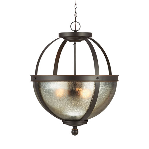 Sfera Autumn Bronze Energy Star Three-Light LED Pendant with Mercury Glass