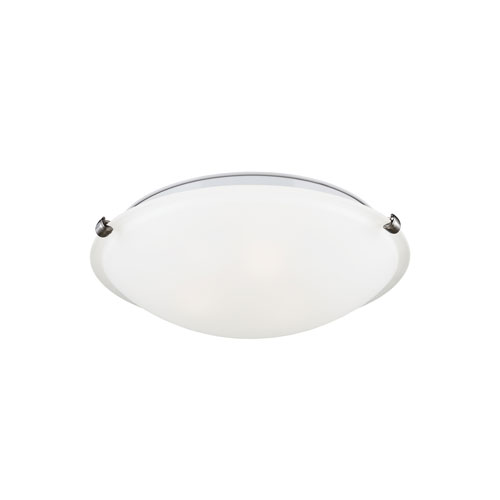 Brushed Nickel Energy Star 12-Inch Two-Light LED Flush Mount with Satin Etched Glass