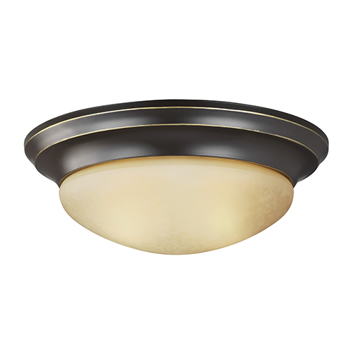 Sea Gull Lighting Nash Heirloom Bronze 14-Inch LED Flush Mount with Amber Scavo Glass