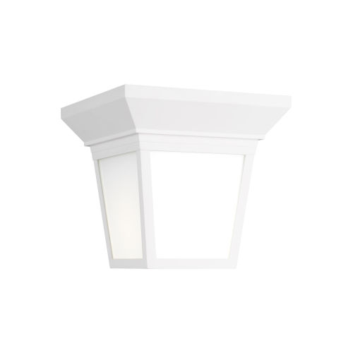 Lavon White One-Light Outdoor Flush Mount with Smooth White Shade