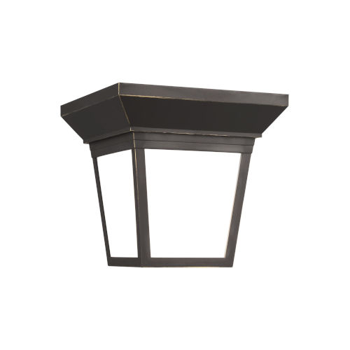 Lavon Antique Bronze One-Light Outdoor Flush Mount with Smooth White Shade