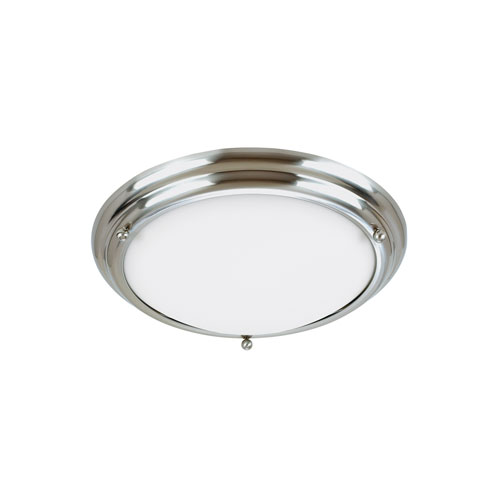Sea Gull Lighting Centra Brushed Stainless Energy Star 15-Inch Two-Light LED Flush Mount with Satin White Glass