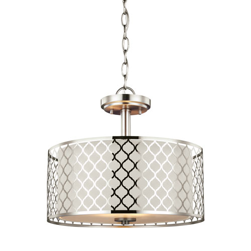 Jourdanton Brushed Nickel Energy Star Two-Light LED Convertible Pendant
