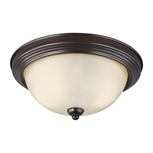 Burnt Sienna 13-Inch LED Flush Mount with Amber Scavo Glass