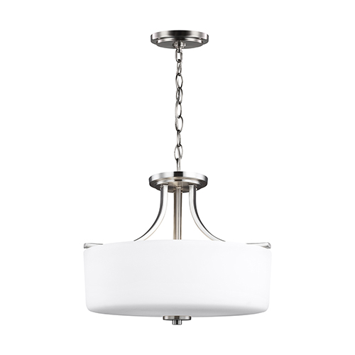 Sea Gull Lighting Canfield Brushed Nickel 16-Inch Three-Light Convertible Pendant