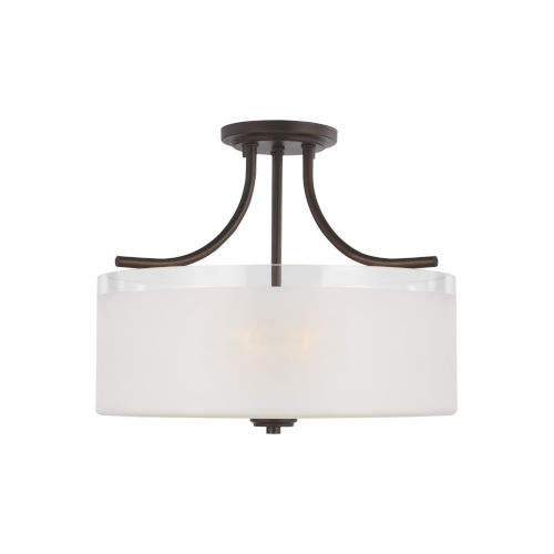 Norwood Burnt Sienna Three-Light Semi-Flush Mount with Clear Highlighted Satin Etched Shade