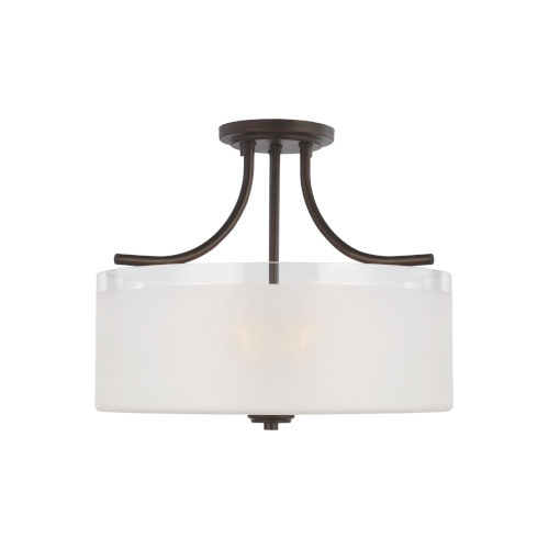 Norwood Bronze Three-Light Semi-Flush Mount with Clear Highlighted Satin Etched Shade Energy Star