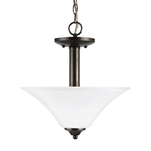Sea Gull Lighting Holman Heirloom Bronze 13-Inch Two-Light Convertible Pendant