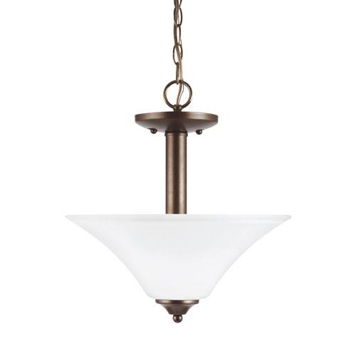 Sea Gull Lighting Holman Bell Metal Bronze Energy Star Two-Light LED Convertible Pendant