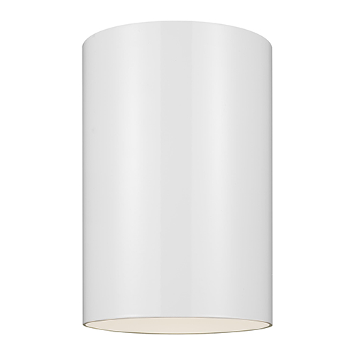 Outdoor Cylinders White Six-Inch LED Outdoor Flush Mount