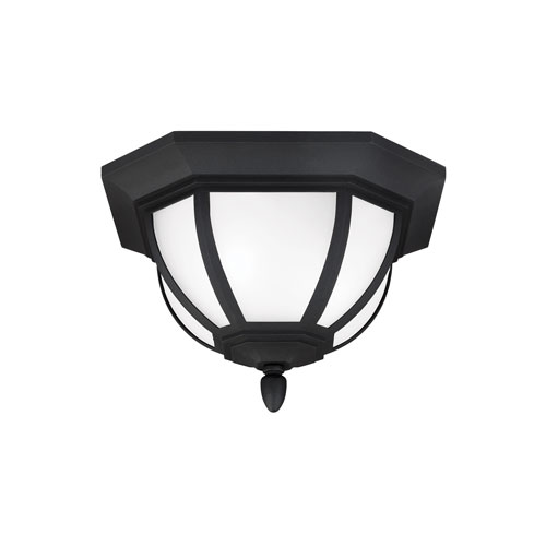 Sea Gull Lighting Childress Black Energy Star Two-Light LED Outdoor Ceiling Flush Mount