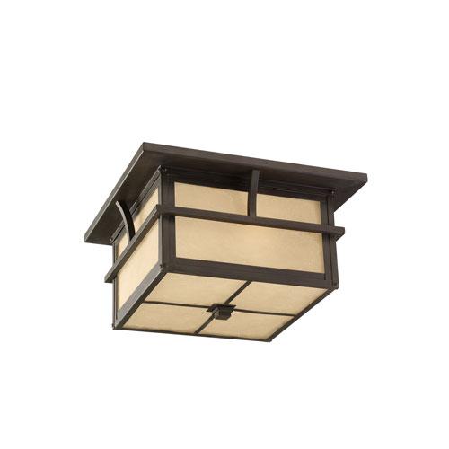 Sea Gull Lighting Medford Lakes Statuary Bronze Energy Star Two-Light LED Outdoor Ceiling Flush Mount