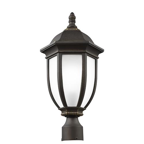 Sea Gull Lighting Galvyn Antique Bronze 10-Inch One-Light Outdoor Post Lantern