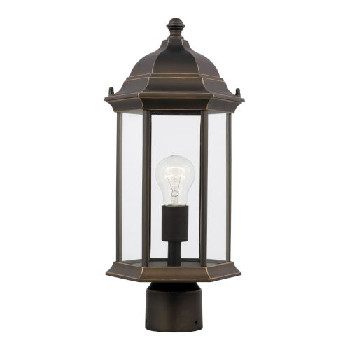 Sevier Antique Bronze One-Light Outdoor Post Mount with Satin Etched Shade