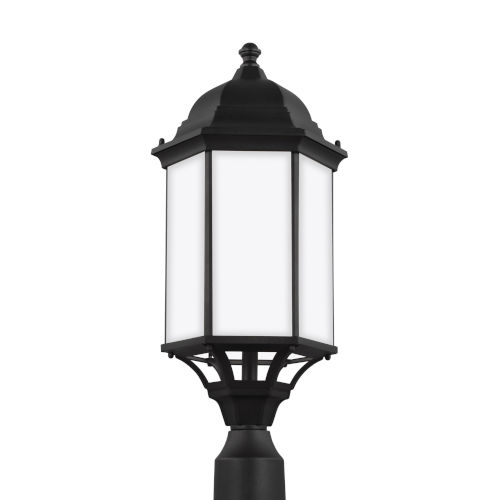 Sevier Black 22-Inch One-Light Outdoor Post Mount with Satin Etched Shade