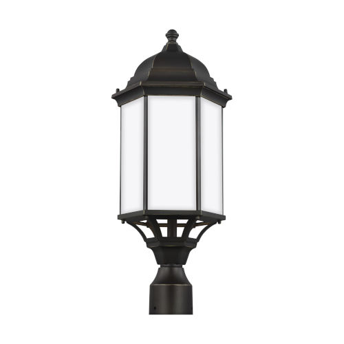 Sevier Antique Bronze 22-Inch One-Light Outdoor Post Mount with Satin Etched Shade