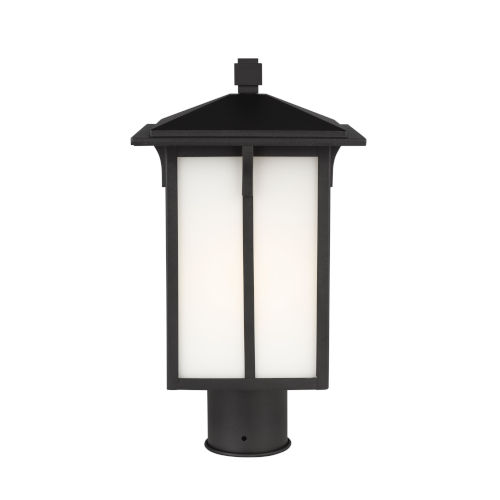 Tomek Black One-Light Outdoor Post Mount with Etched White Shade Energy Star
