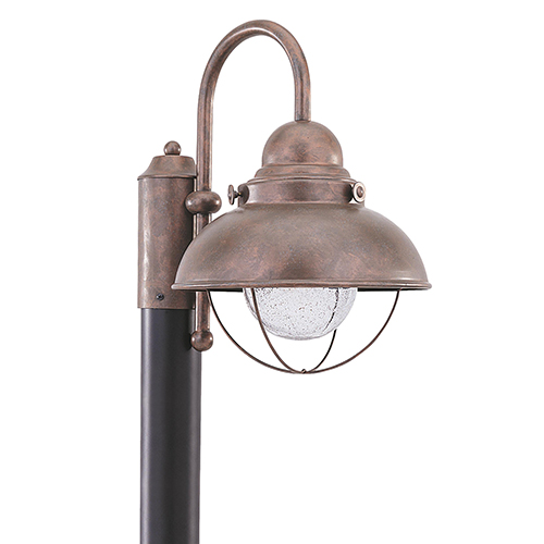Sea Gull Lighting Sebring Weathered Copper 11-Inch LED Outdoor Post Lantern