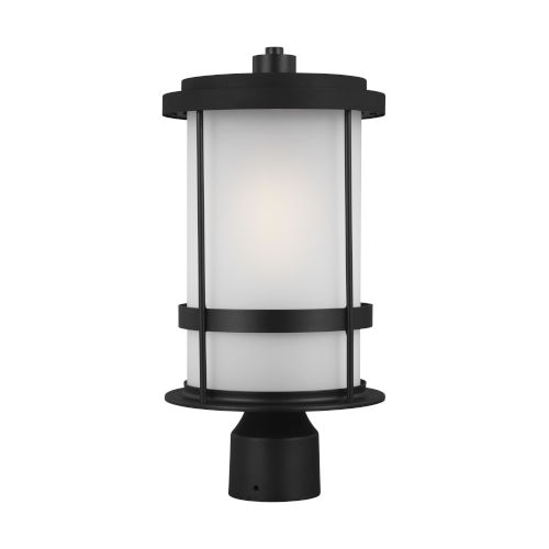Wilburn Black One-Light Outdoor Post Mount with Satin Etched Shade Energy Star