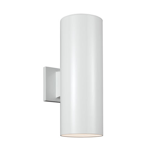Sea Gull Lighting Outdoor Cylinders White Energy Star 14-Inch Two-Light LED Outdoor Wall Lantern