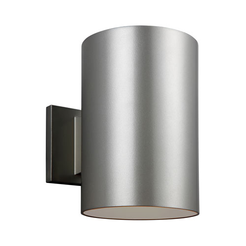 Sea Gull Lighting Outdoor Cylinders Painted Brushed Nickel Nine-Inch Energy Star LED Outdoor Wall Lantern