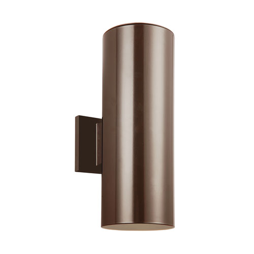 Sea Gull Lighting Outdoor Cylinders Bronze Energy Star 18-Inch Two-Light LED Outdoor Wall Lantern