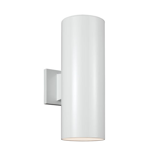 Outdoor Cylinders White Energy Star 18-Inch Two-Light LED Outdoor Wall Lantern