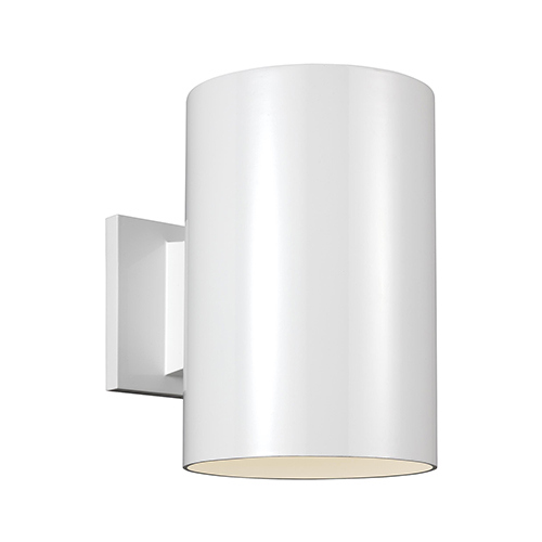 Sea Gull Lighting Outdoor Cylinders White Nine-Inch LED Outdoor Wall Sconce