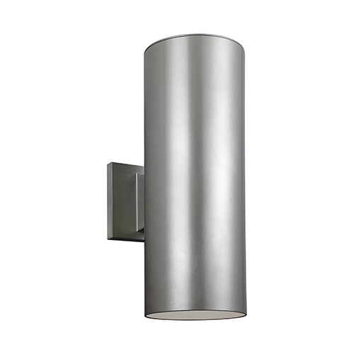 Sea Gull Lighting Outdoor Cylinders Painted Brushed Nickel 14-Inch LED Outdoor Wall Sconce