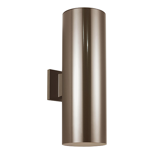 Outdoor Cylinders Bronze 18-Inch LED Outdoor Wall Sconce