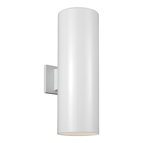 Sea Gull Lighting Outdoor Cylinders White 18-Inch LED Outdoor Wall Sconce