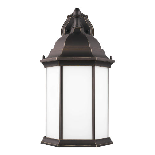 Sevier Antique Bronze Nine-Inch One-Light Outdoor Downlight Wall Sconce with Satin Etched Shade