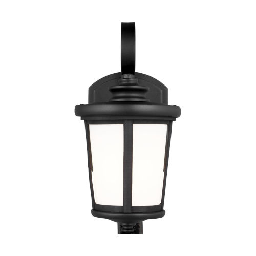 Eddington Black Six-Inch One-Light Outdoor Wall Sconce with Cased Opal Etched Shade Energy Star